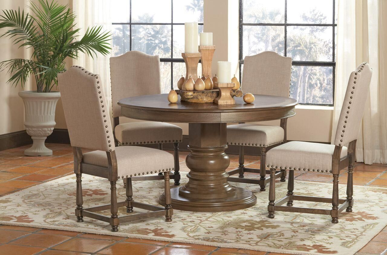 Dining Room Furniture San Diego Coaster Willem 5 Piece Round Single Pedestal Table Set