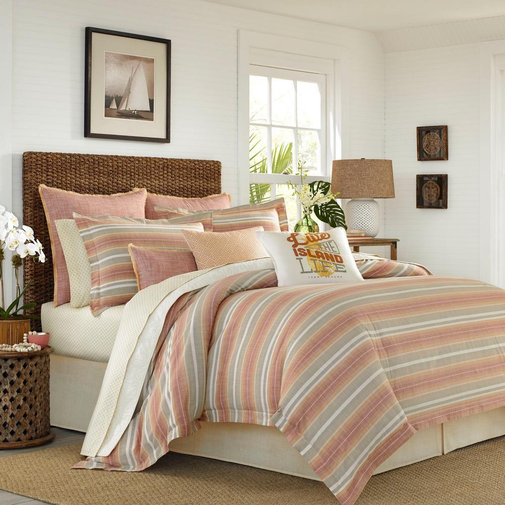 Tommy Bahama Sunrise 4 Piece Orange King Comforter Set Comforter