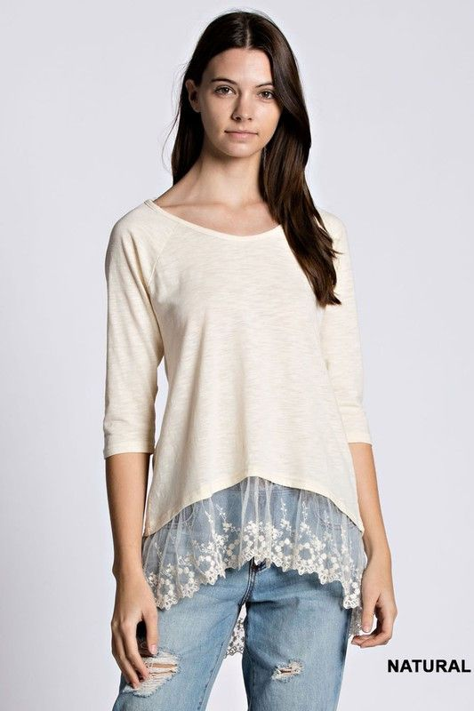 Lace Hem Top - Natural