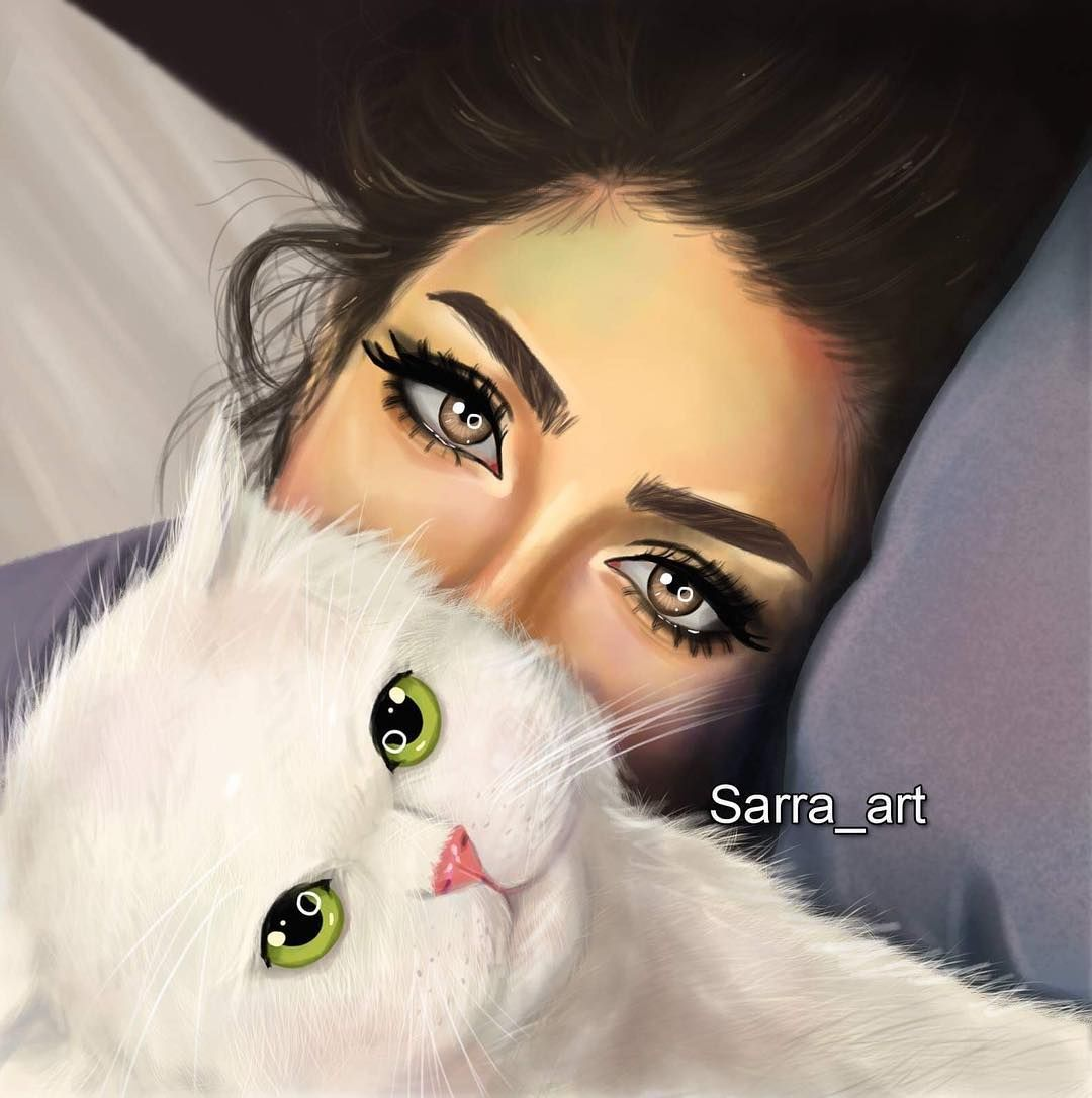 رأيكم في رسمتي منشن اللي بتحب القطط Digital Art Girl Cute Girl Drawing Girly Drawings