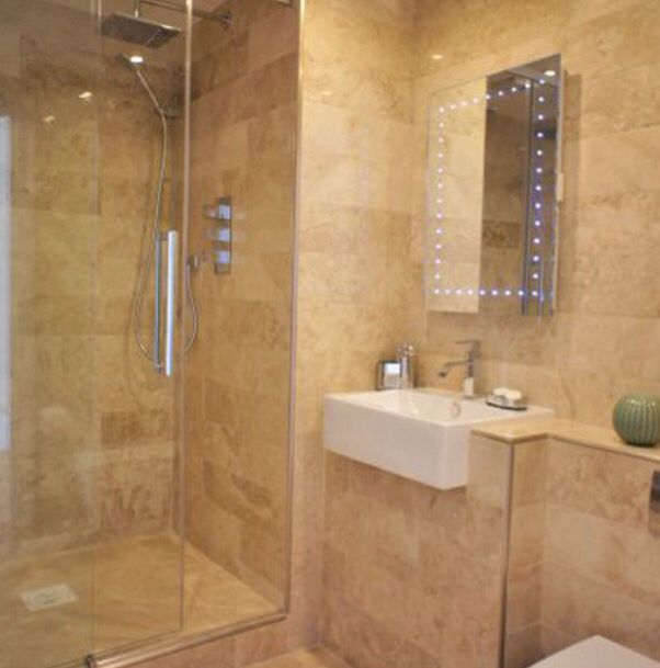Art Exhibition Dream bathrooms Travertine stable door tile