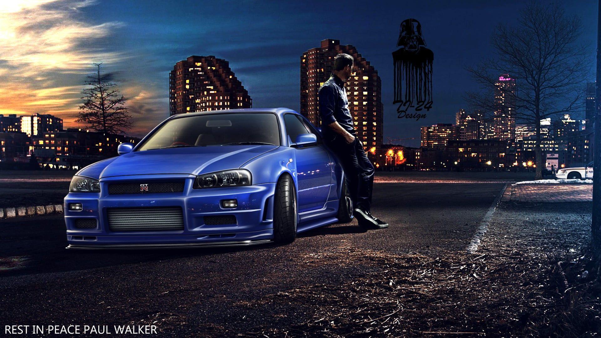 Blue Nissan Skyline R34 Paul Walker Fast And Furious Furious 7 Nissan Skyline Gt R R34 Car 1080p In 2020 Nissan Gtr Skyline Nissan Skyline Gt Nissan Gtr Wallpapers