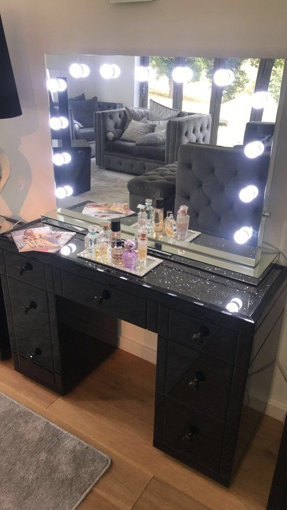 Black Mirror Crush 7 Drawer Mirrored Dressing Table Mirrored