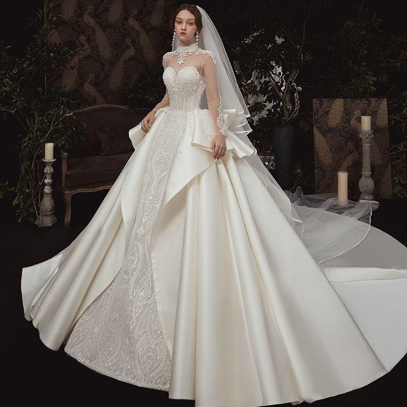 Vintage / Retro Seethrough Ivory Satin Wedding Dresses