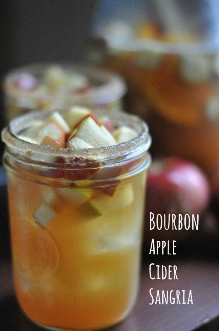 Bourbon Apple Cider Sangria #applecidersangriarecipe