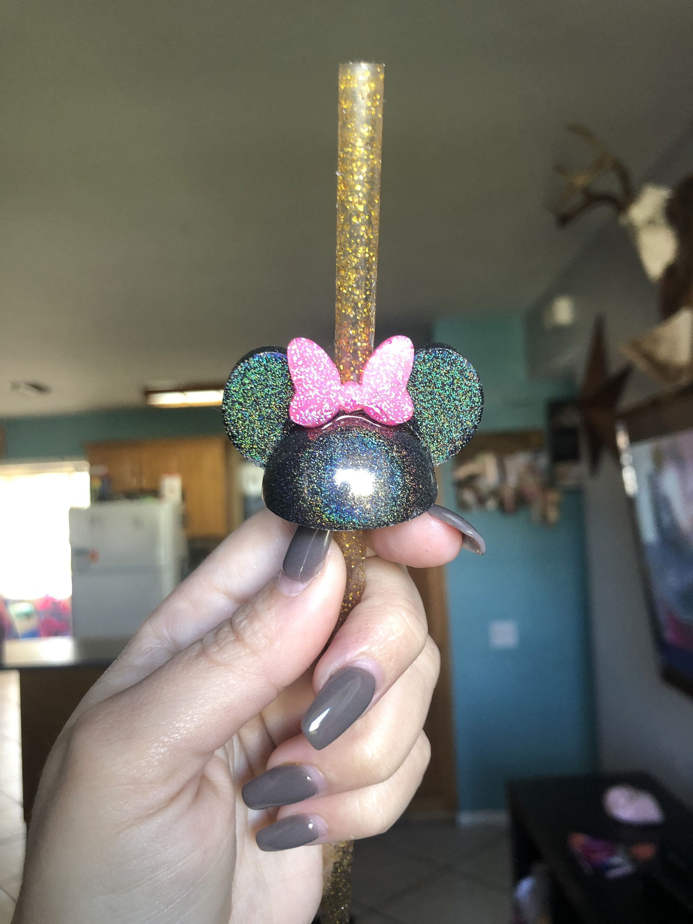 Minnie Mouse with Bow Straw Topper Silicone Mold Resin Epoxy Ships from USA