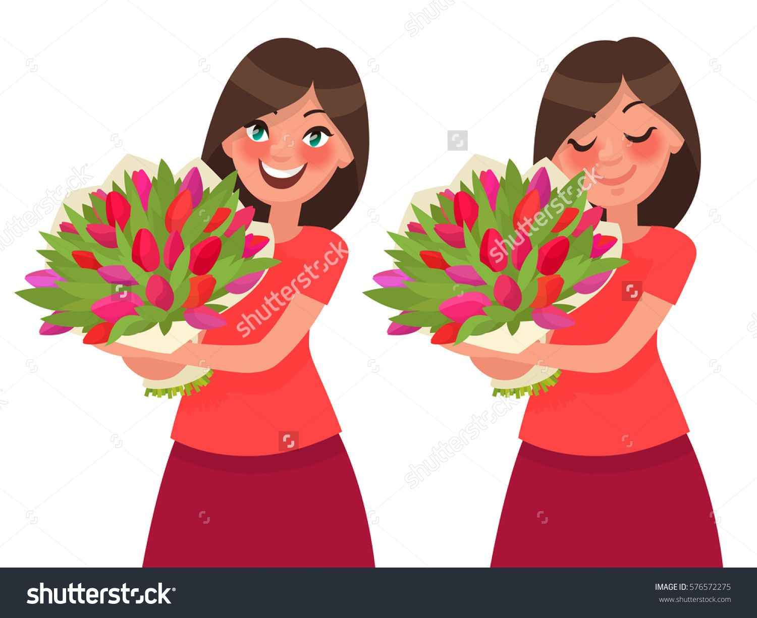 Woman holding a bouquet of flowers and inhale its aroma. Vector ...