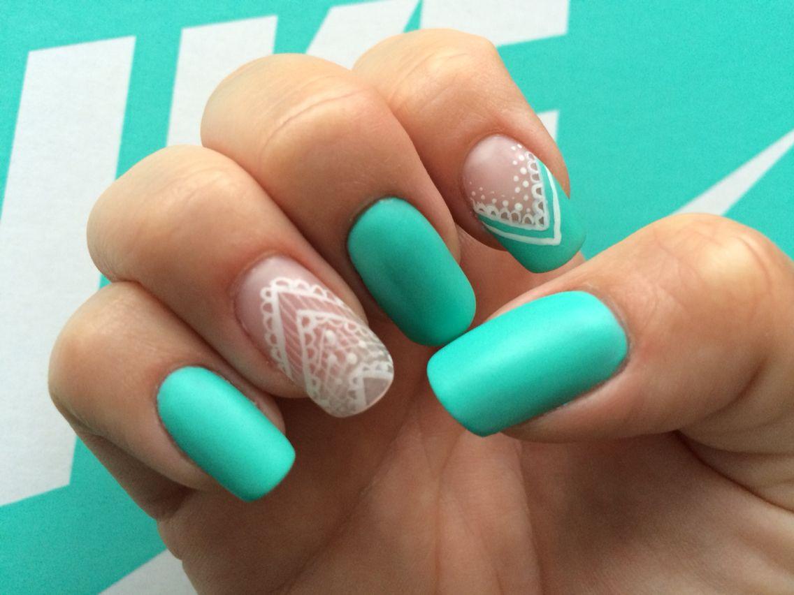 Ponsi nails Türkis Mint White Matt Nike   nägel   Pinterest   Nail ...