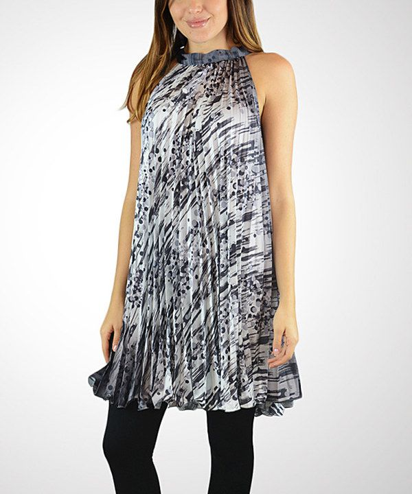 Look at this OhConcept Collection Black Abstract Pleated Tunic on #zulily today!