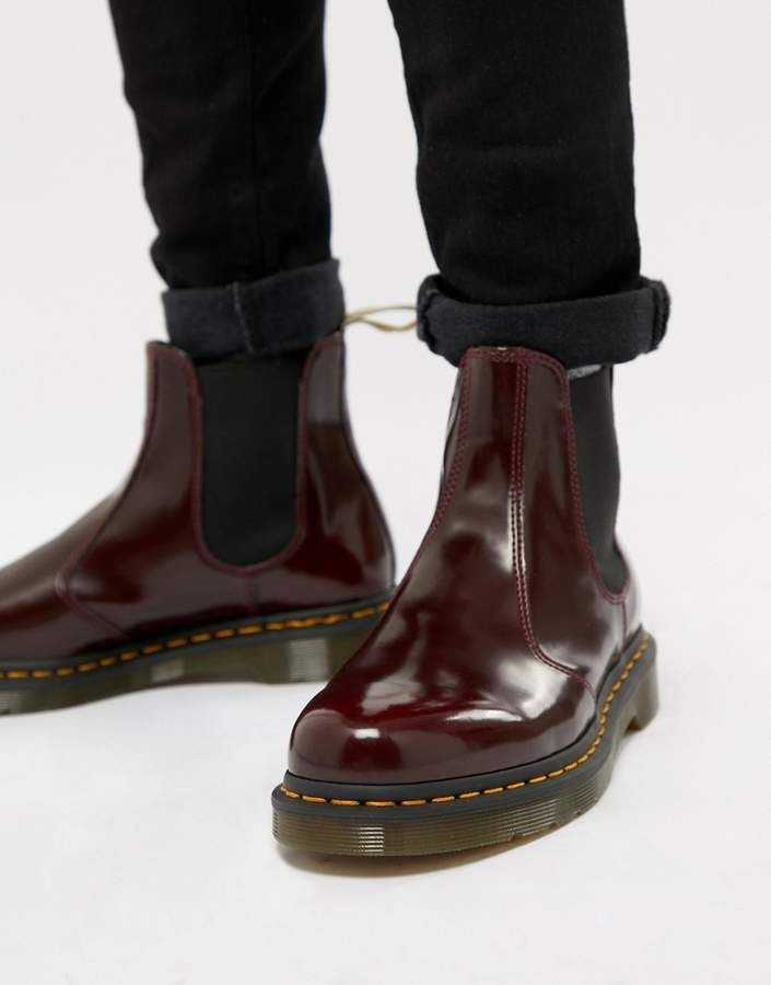 5f9b9f2b9e38 Dr Martens vegan 2976 chelsea boots in red | Products | Chelsea ...