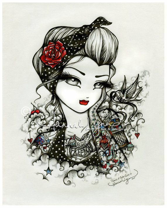 6e2bdc961f6d9 Rockabilly Girl Tattoo Sweet Freedom Sketch Bird Fantasy Art 8x10 Print  Hannah Lynn