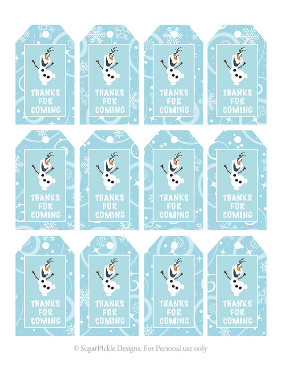 Frozen Favor Tags, Thank You Party Tags, Loot Bag Tags, Frozen