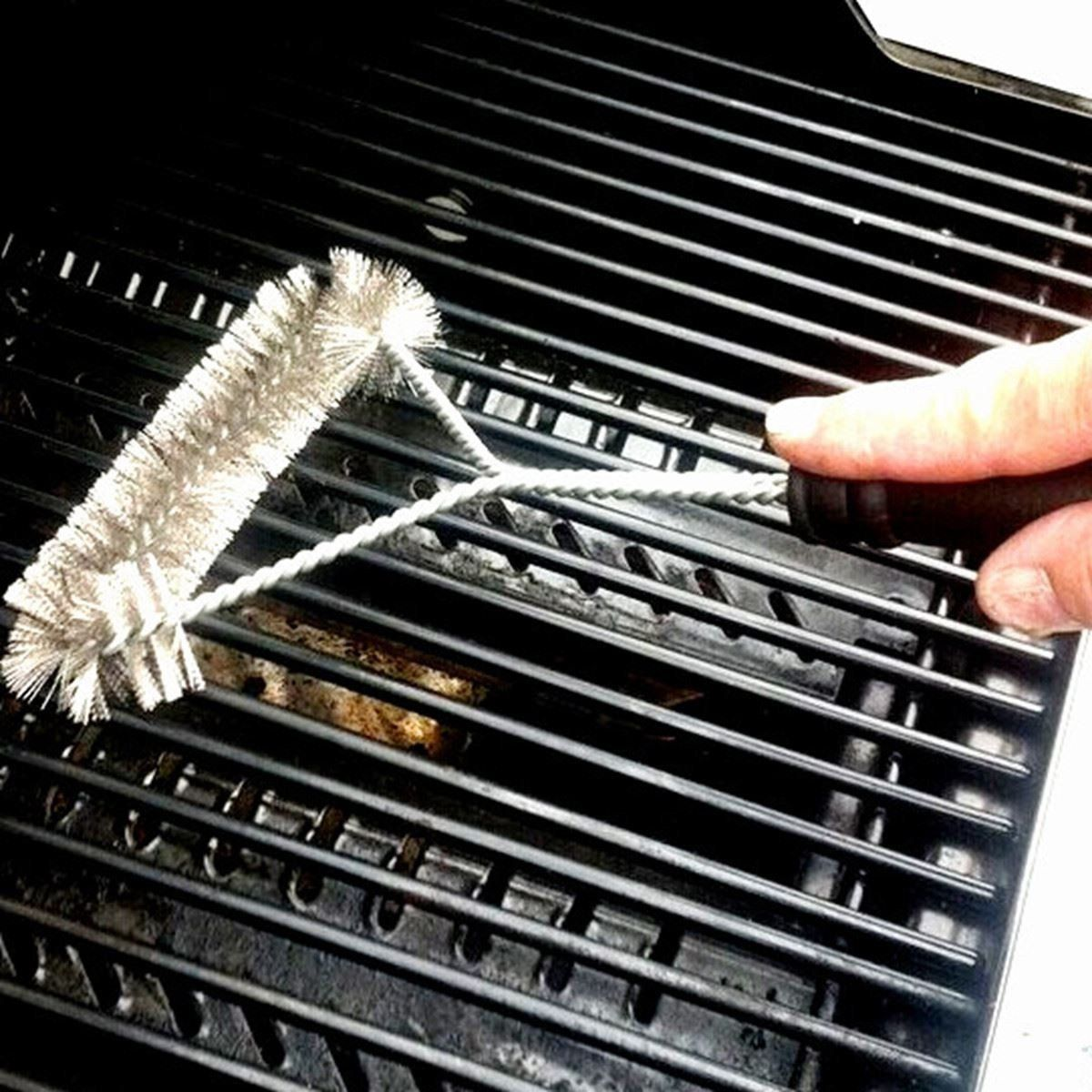 """BBQ Wire Grill Brush 12/"""" Stainless Steel Barbecue Triangle Cleaning Tool Durable"""