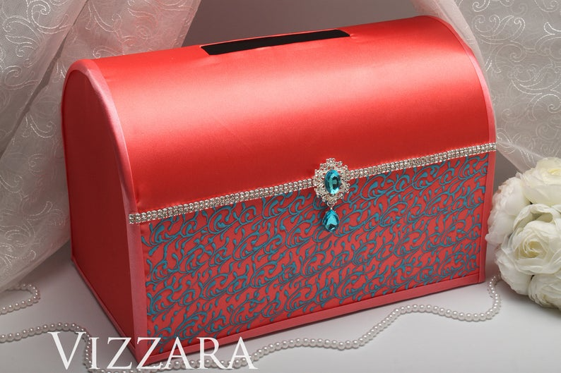 Wedding boxes Coral wedding Weddings boxes Coral and turquoise wedding Wedding wish boxes Coral and blue wedding