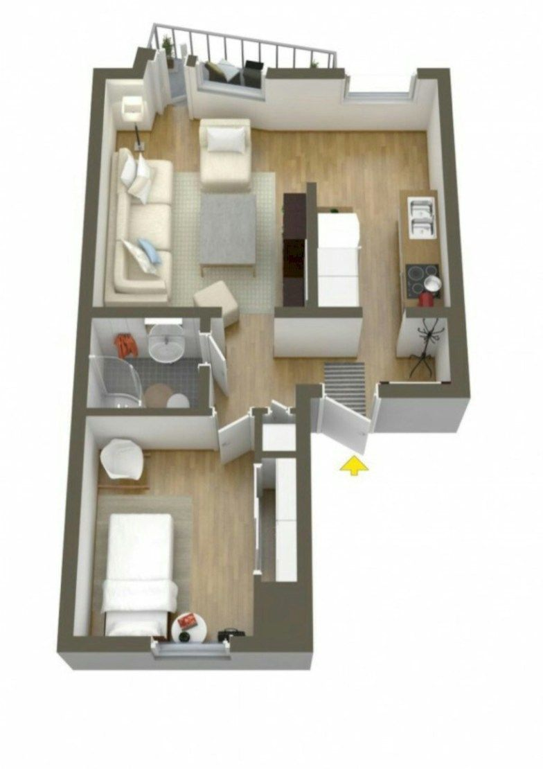 56 Cool One Bedroom Apartment Plans Ideas Roundecor House Floor Plans Apartment Layout One Bedroom Apartment