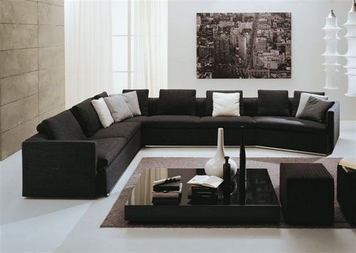 Modern Black Sectional Sofa Large   Extra Large Sectional Sofas Part 60