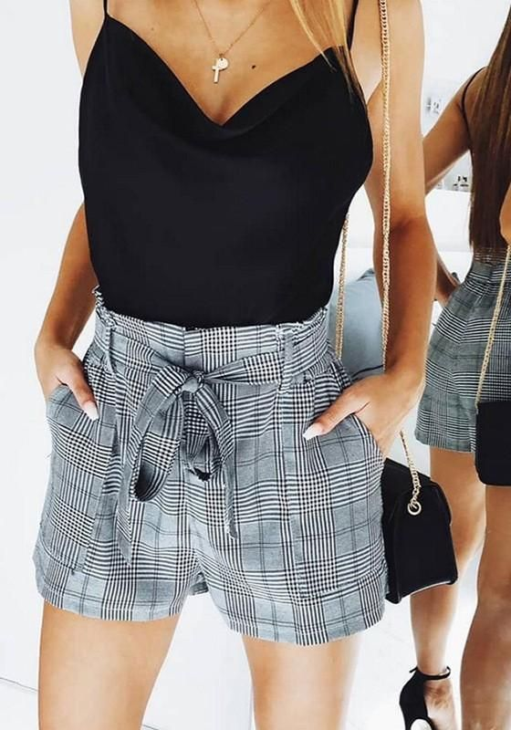 f24d17474 Black-White Plaid Pockets Sashes High Waisted Casual Going out Shorts