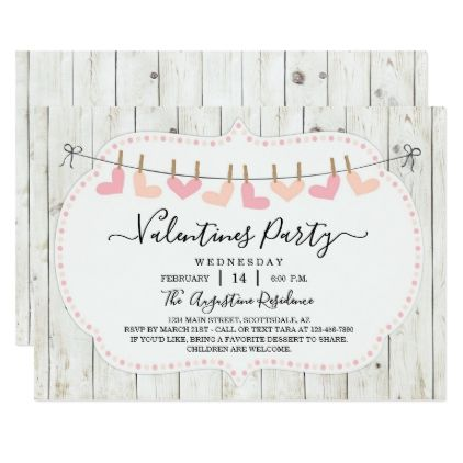 Personalized Rustic Valentine Day Party Invitation Party invitations - invitation to a party