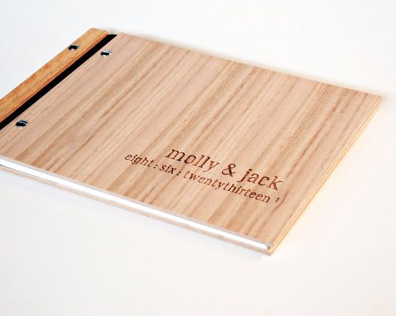 Custom Engraved Wood Guest Book Wedding Engagement Gift