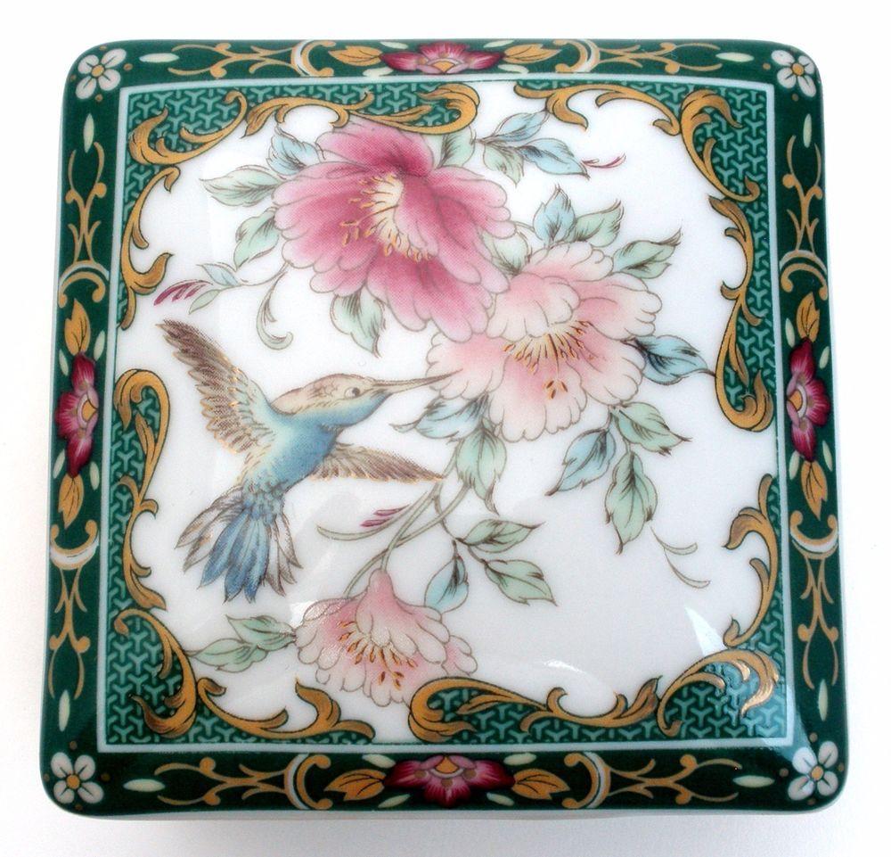 Vintage Hummingbird Porcelain Trinket Box Jewelry Japanese Square Green Pink