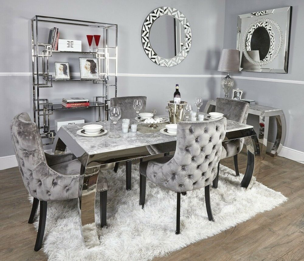 Classy Sophisticated And Elegant The Flora Marble Is A Beautiful Range That Brings A Touch Luxury To Your Elegantes Esszimmer Graues Esszimmer Marmor Esstische