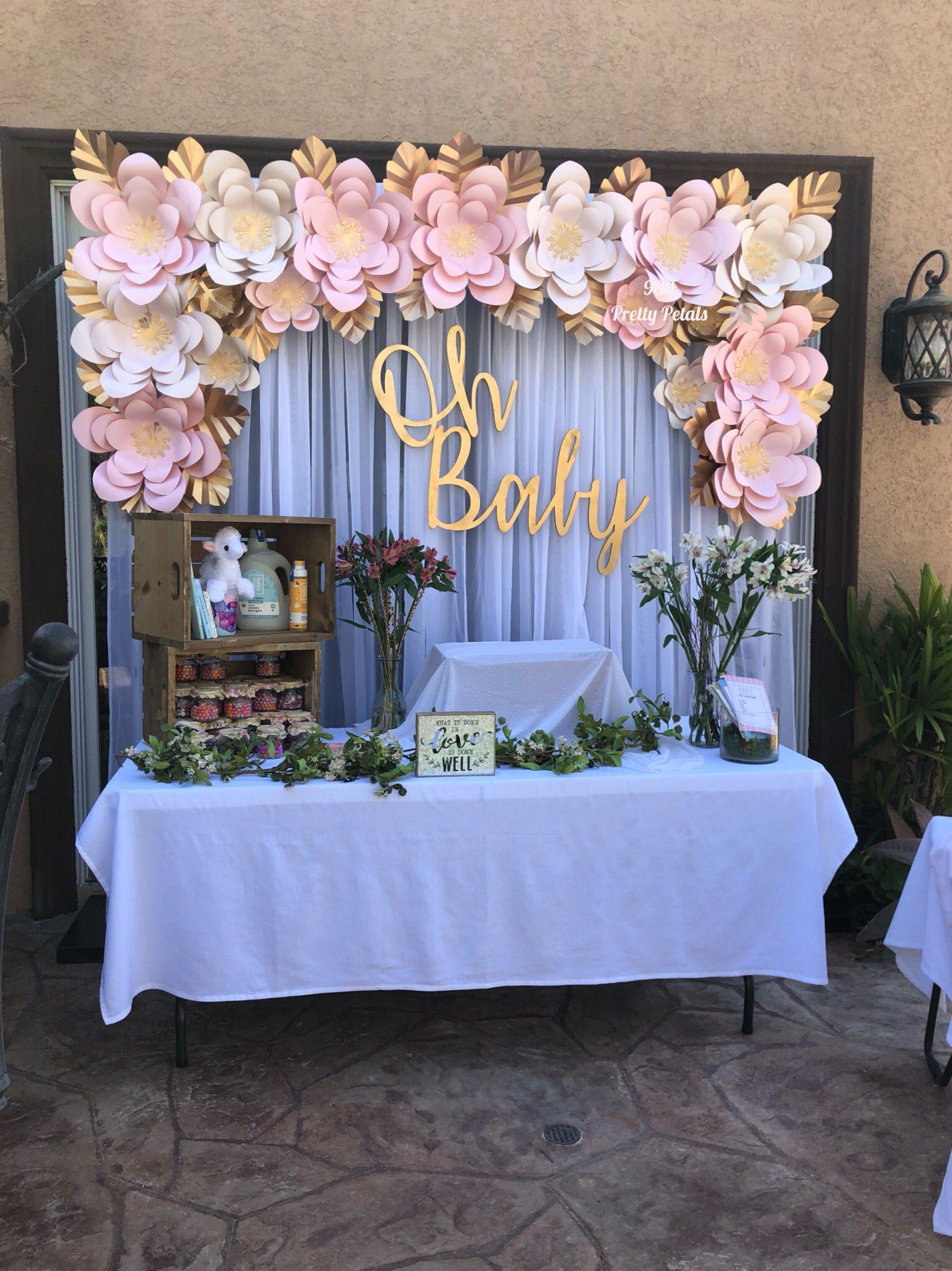 Baby Shower Backdrop : shower, backdrop, Paper, Flower, Backdrop, Shower, Theme,, Flowers,