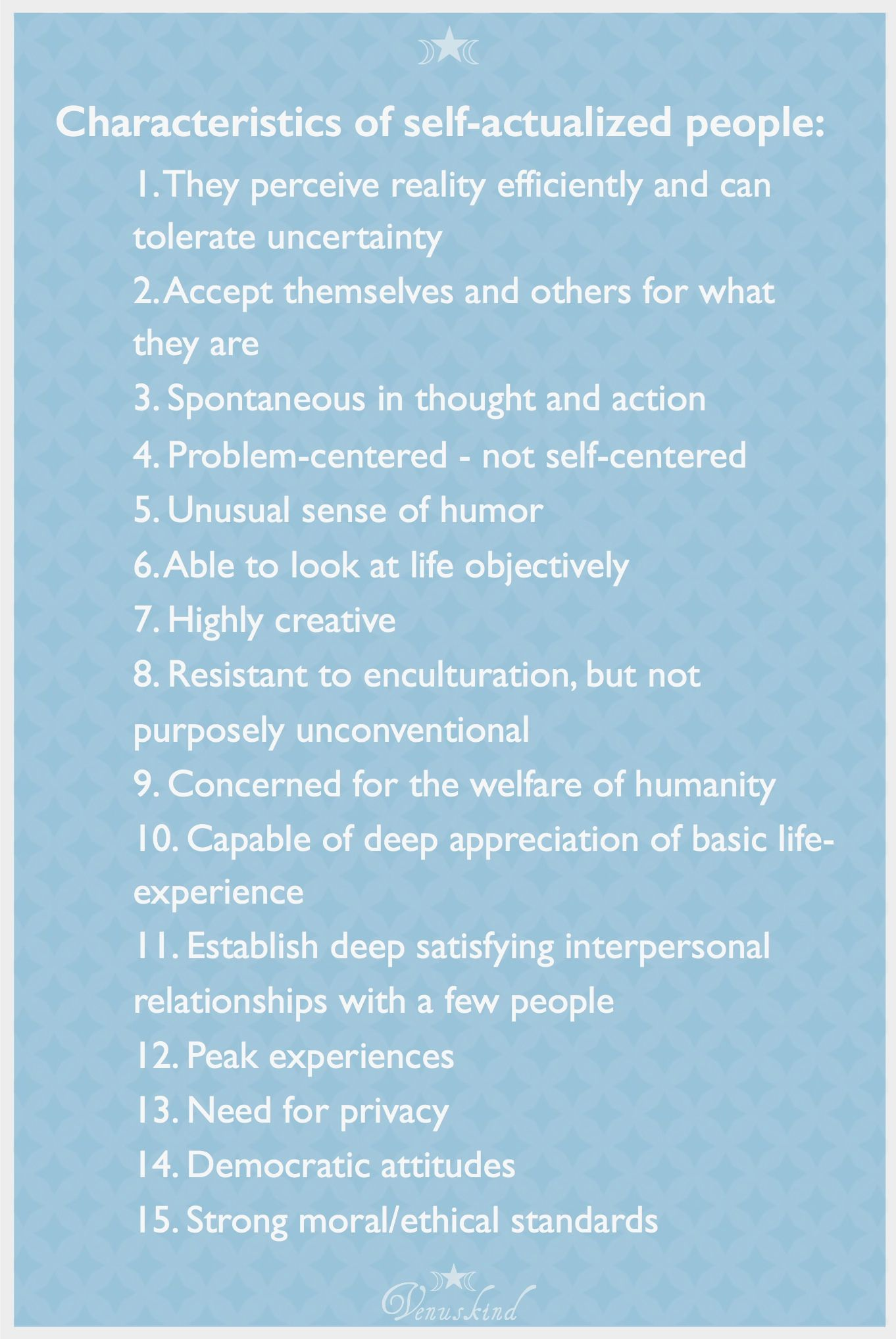 Characteristics of a Self-Actualizing Person