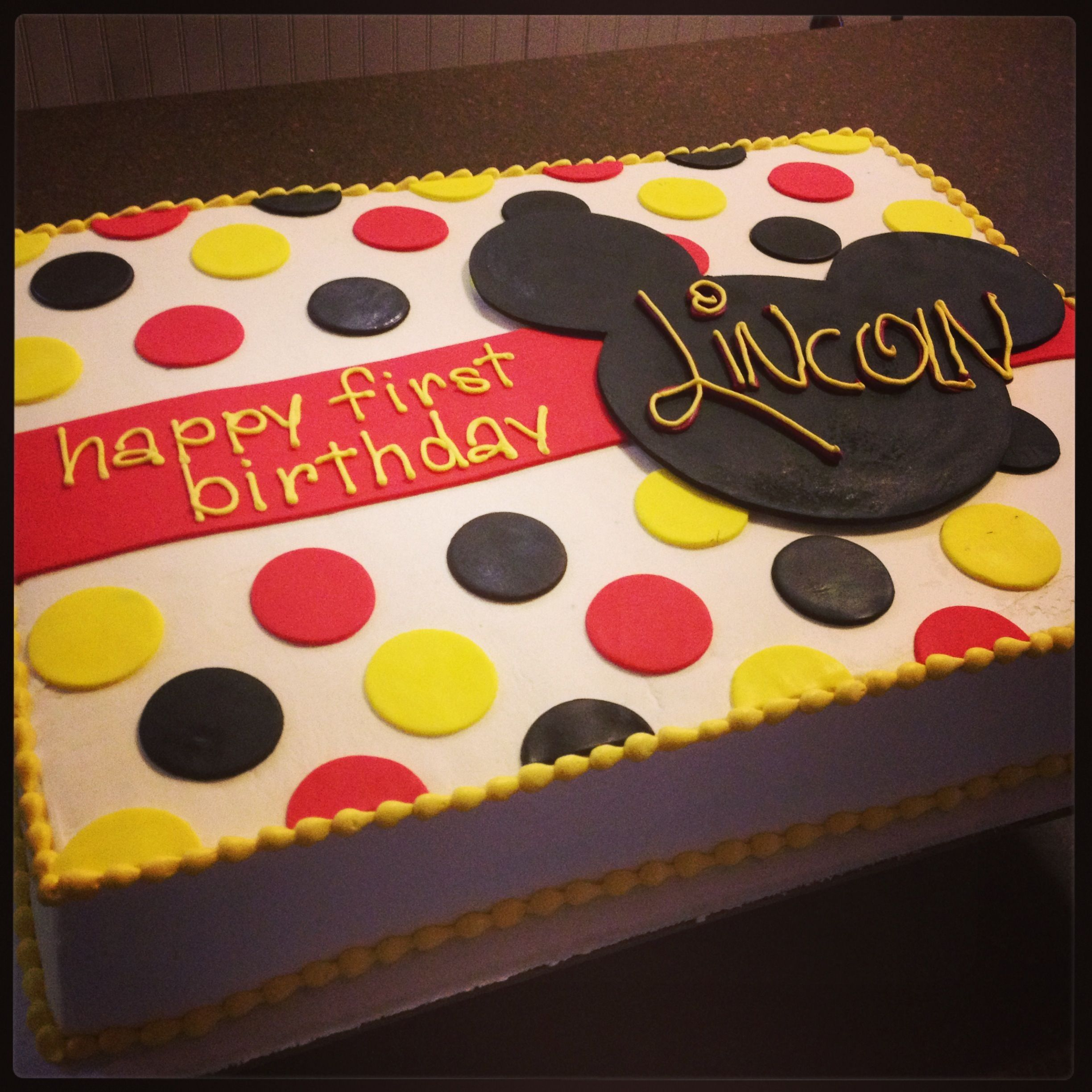 Mickey Mouse 1st Birthday Sheet Cake In 2020 Mickey Mouse First Birthday Mickey Mouse 1st Birthday Mickey Mouse Birthday Cake