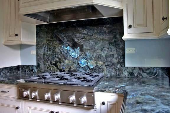 Labradorite Blue Countertop Into A Backsplash Blue Granite