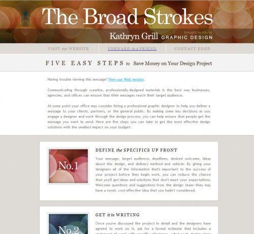 The-Broad-Strokes E-News Pinterest Email newsletter design - office newsletter