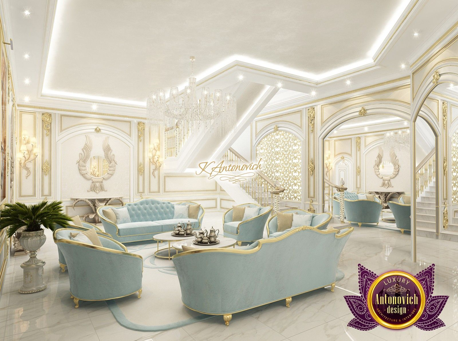 Great Authoru0027s Project Of A Luxury Villa In Qatar. Exclusive Design Solutions In  Interior Decoration. Luxurious Materials And New Technologies