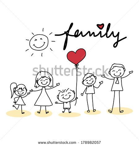 Hand Drawing Cartoon Character Happy Family My Babys Heart Tattoo