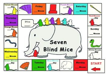 Ed Young Seven Blind Mice Game Board Worksheet