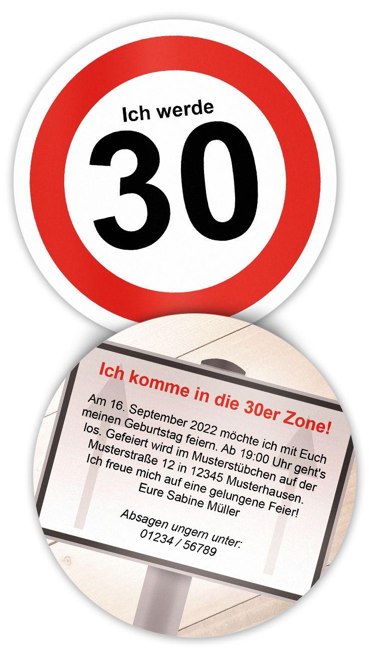 Geburtstagseinladung Zum 30 Geburtstag 30er Zone Kreative