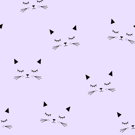 Fabric by the Yard Cats Lilac
