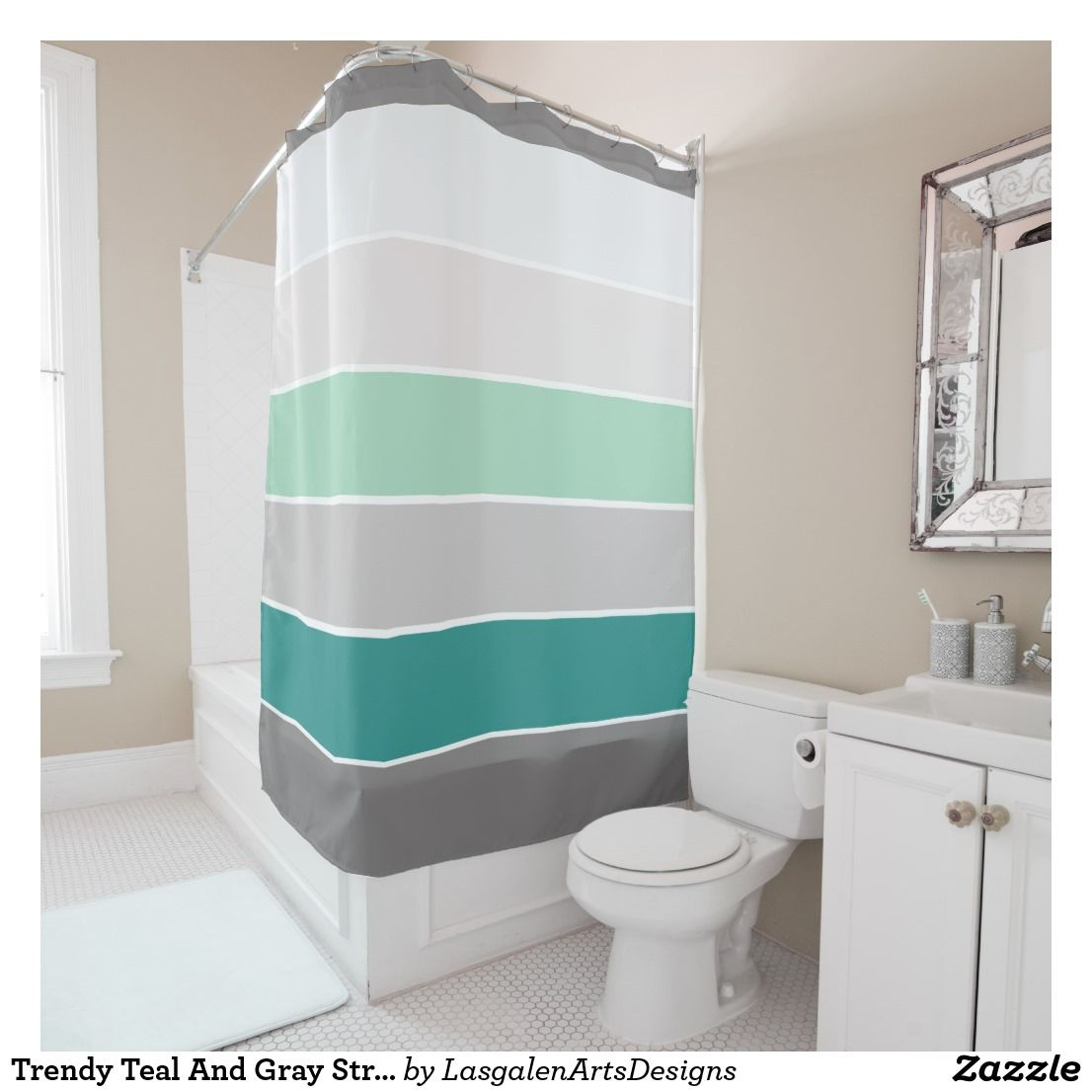 Trendy Teal And Gray Stripes Pattern Shower Curtain Zazzle Com