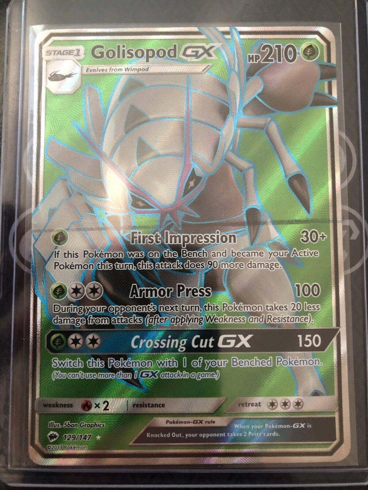 129//147 SM3 Burning Shadows Fullart EN NM Pokemon Golisopod-GX