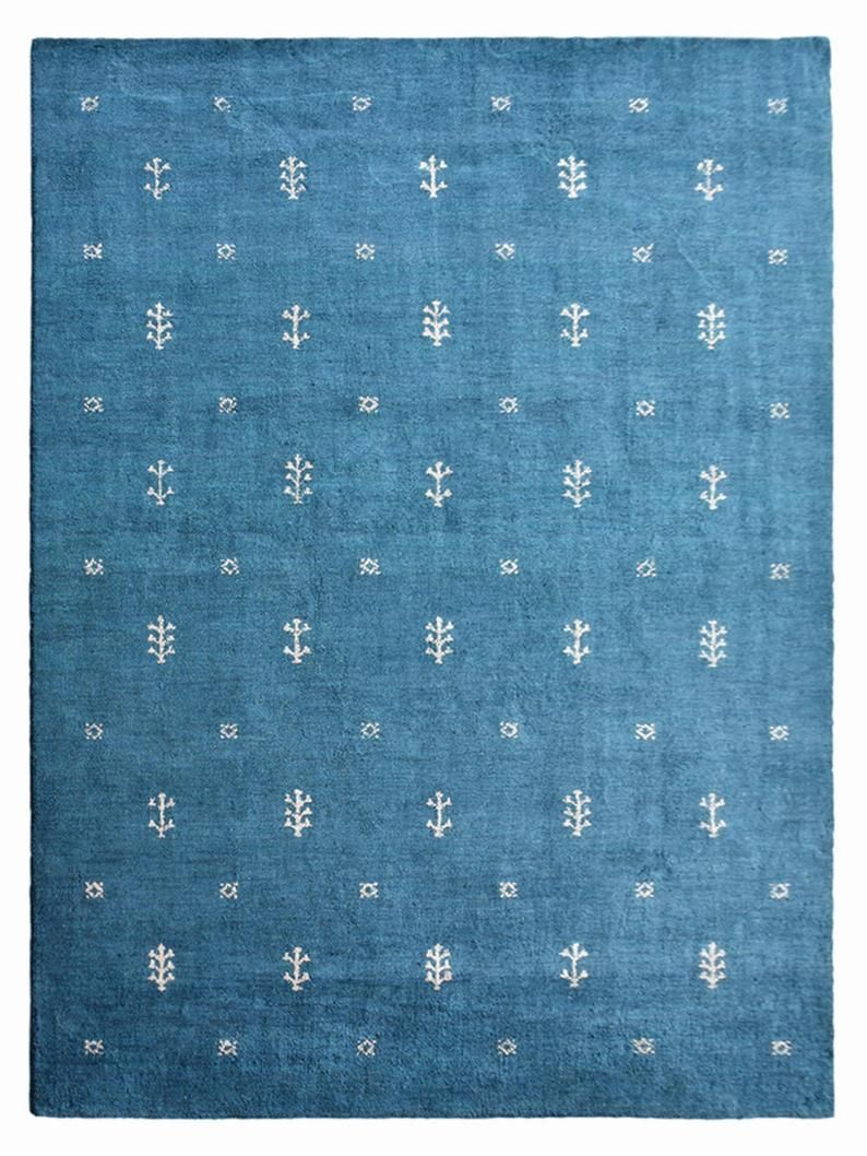 Hand Knotted Gabbeh Silk And Wool Area Rug Contemporary Blue Etsy In 2021 Contemporary Area Rugs Wool Area Rugs Contemporary Rugs