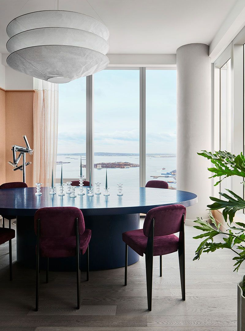Modern mid century and high view of New York apartment in