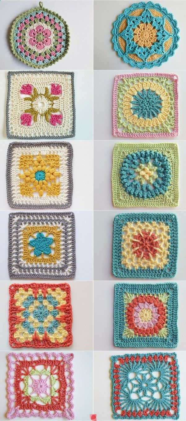 Granny squares patterns | вязание KNITTING бабушкин квадрат ...