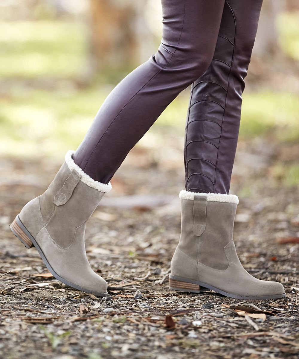 d6c54a85a06 Suede ankle booties with faux shearling