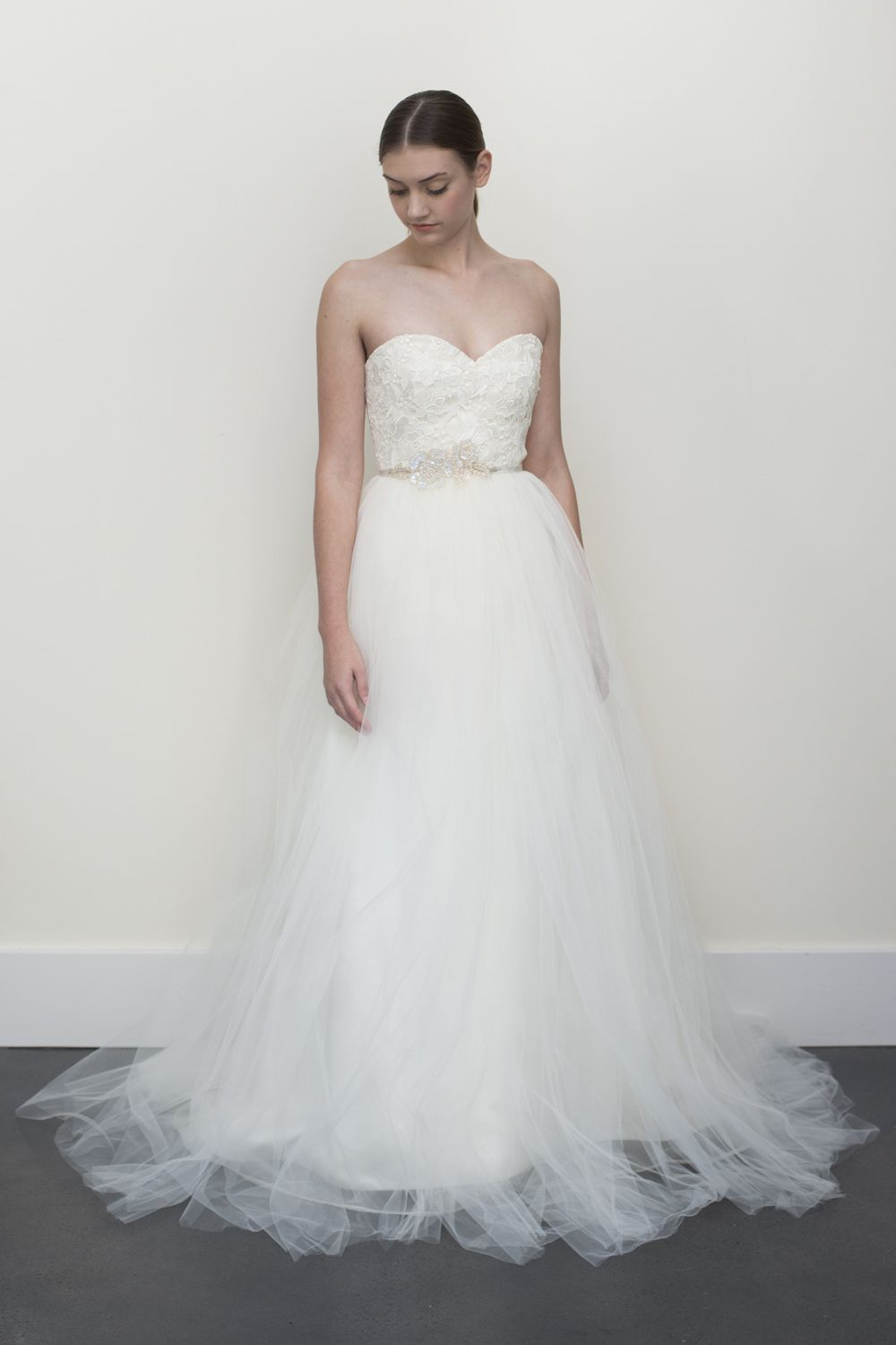 Guipure lace and tulle bodice with sweetheart neckline layers of