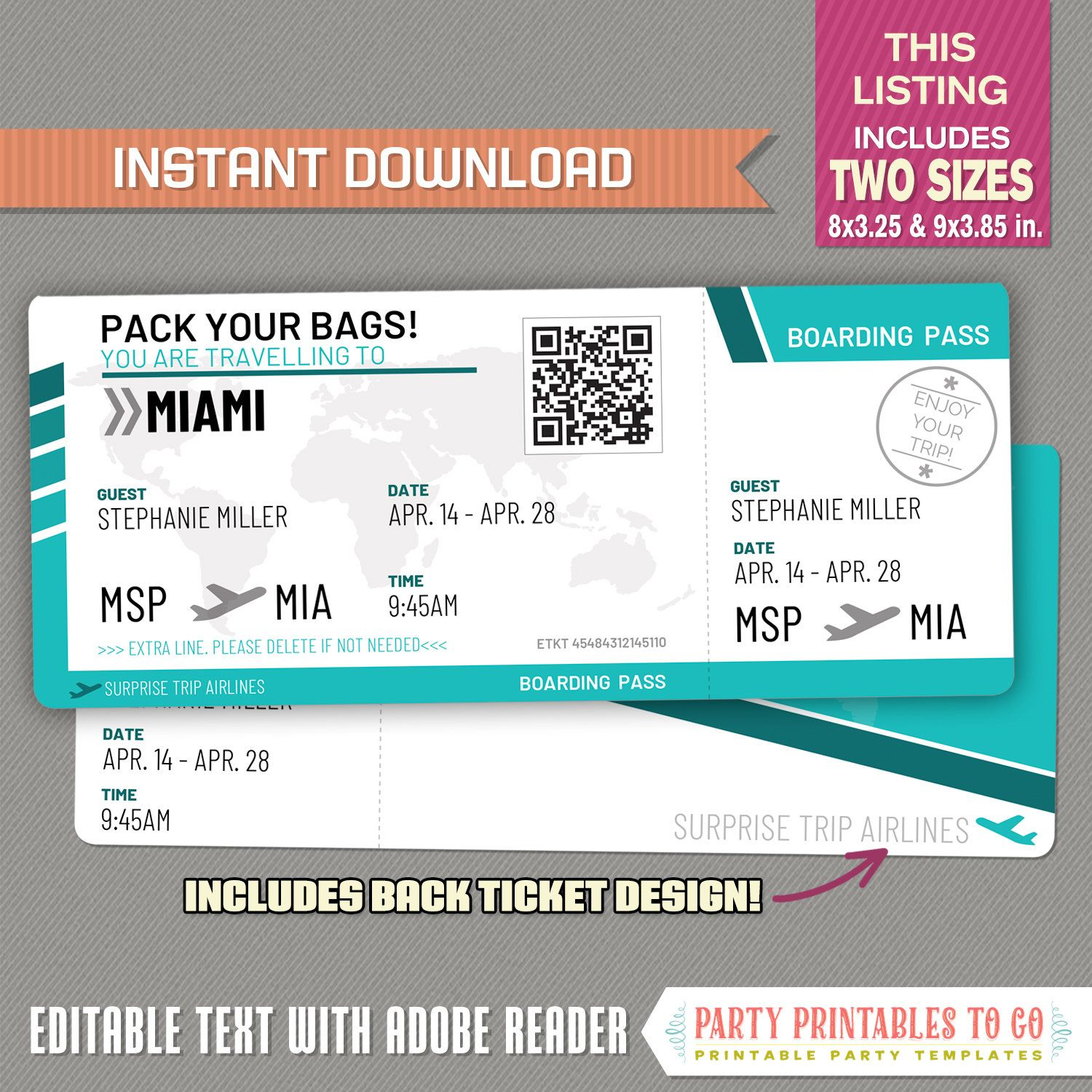 Editable Airplane Boarding Pass Teal Surprise Trip Airline | Etsy in 2020 | Airline  tickets, Boarding pass, Airline