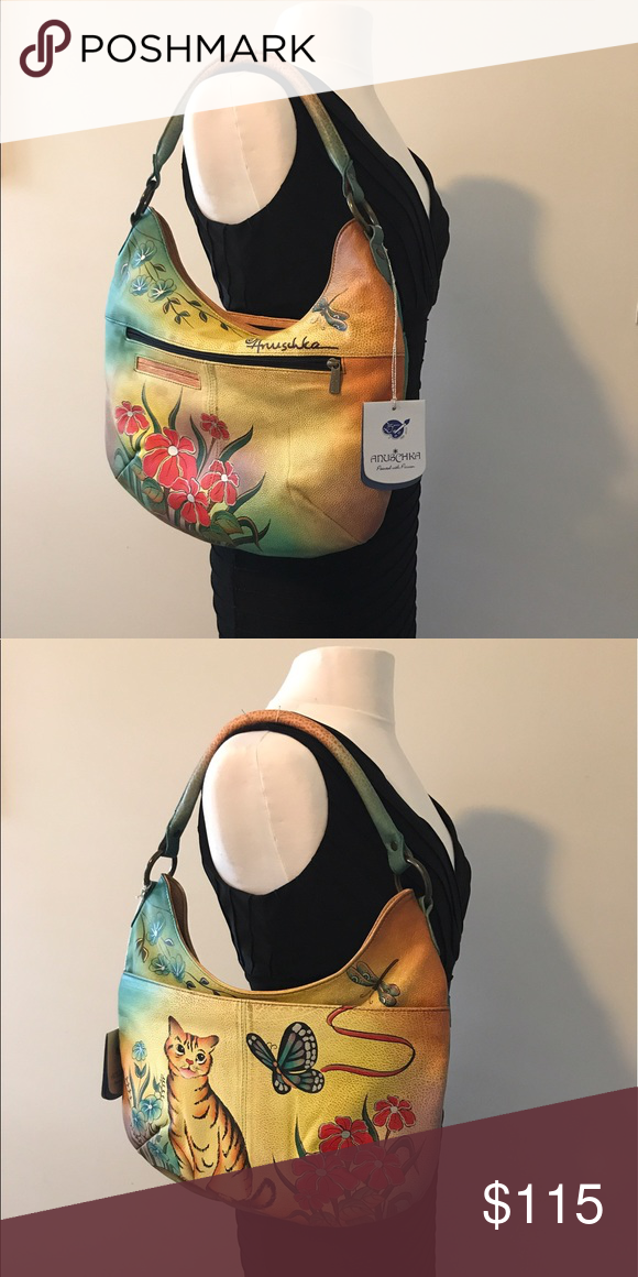 Anuschka designer handbag Anuschka sku  7061-cat. Genuine Leather, soft.  Hand 642eb9537c
