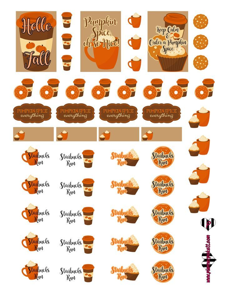 Plannerpickett free pumpkin spice starbucks run mugs coffee planner sticker printable