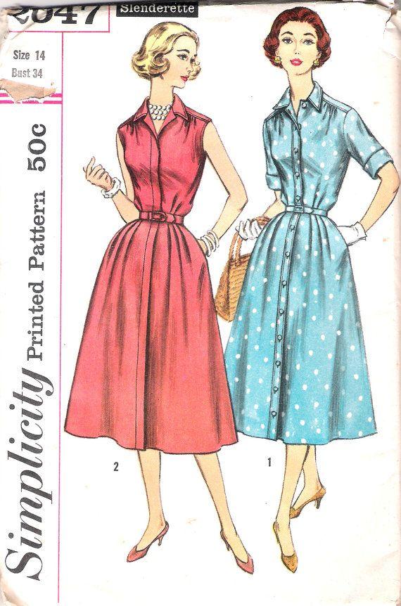 Vintage 50s Shirtwaist Dress Pattern Full Skirt Shirt waist