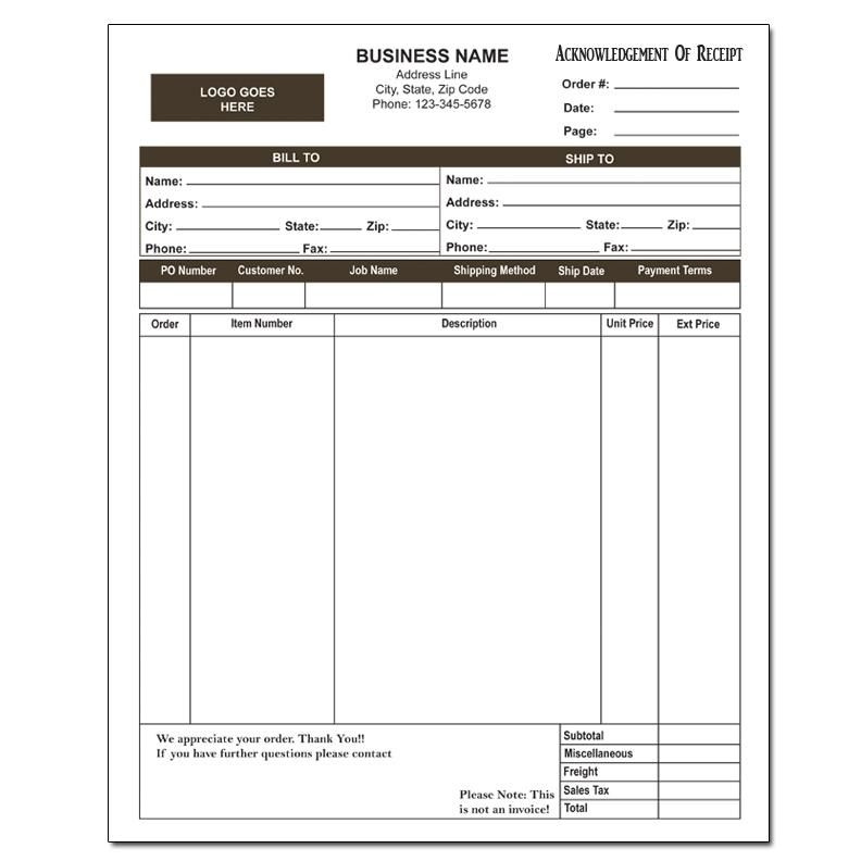 Acknowledgment Of Receipt Invoice Prints Form Sample Resume