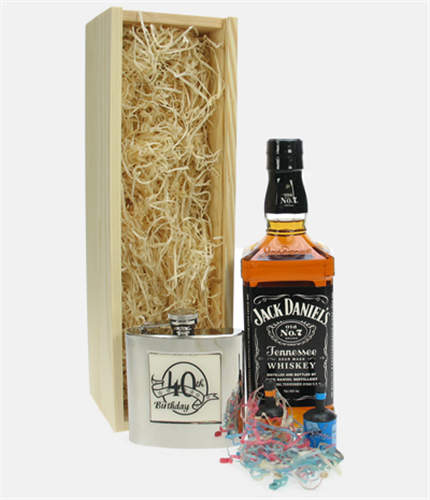 40th Birthday Hip Flask And Whisky Gift