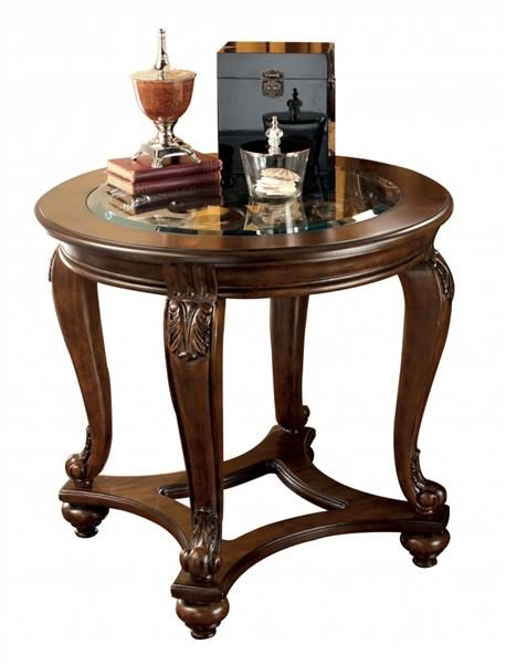Norcastle Traditional Dark Brown Wood Glass End Table Signature