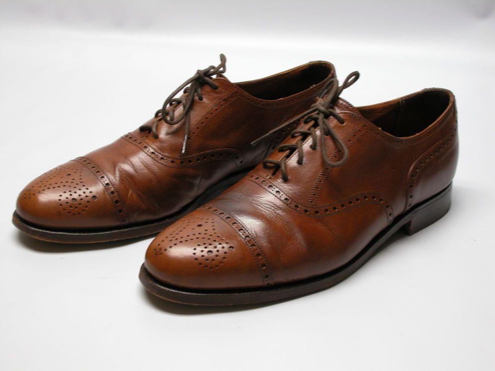 5c115c8cb9d19 Polo Ralph Lauren Mens 11.5 Dress Shoes Tan Leather Wing Cap Toe Made In  England  PoloRalphLauren  OxfordsCapToe